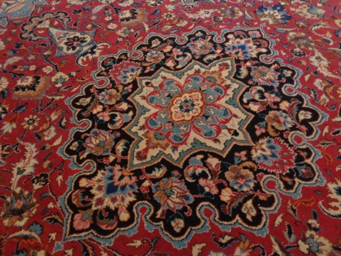 Room size vintage hand knotted Persian rug