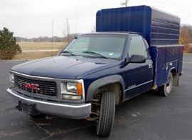 2000 GMC Sierra 2500 SL 4WD Pickup Truck With Metal Utility Storage Shell, Odometer Reads 119,805, VIN # 1GDGK24RXYF497463