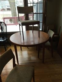 Danish Teak Round Table and 6 Chairs