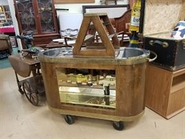 1950's Portable bar on wheels with brass accents