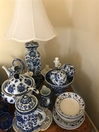 Sampling of Lamps (Pair) and blue and white pottery collection