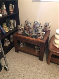 Beer steins and end table 20.00