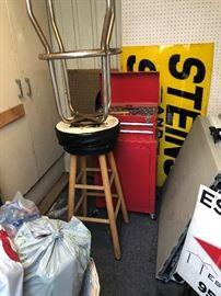 2 bar stools 10 each  tool box and tools