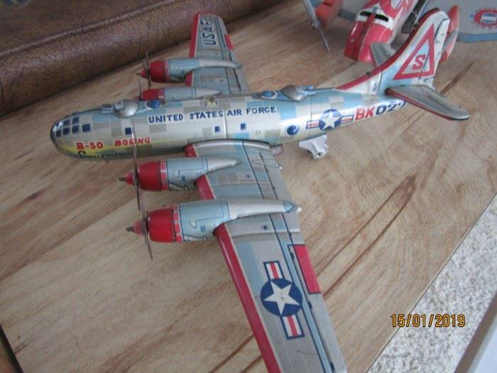 U S Airforce 1950 tin litho Superfortress bomber
