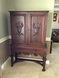 Vintage carved wood cabinet