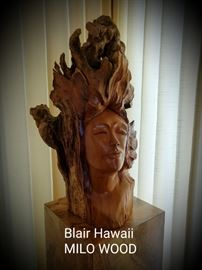 figural Milo Wood sculpture by Brandon Blair, Hawaii