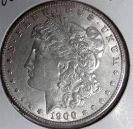 1900 Morgan Silver Dollar, AU Details