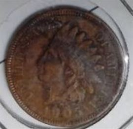 1905 Indian Head Penny, AU Detail