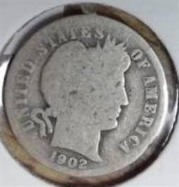1902 Barber Dime, Good Detail