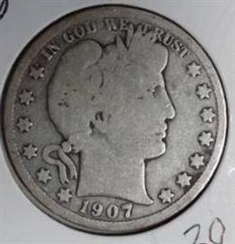 1907 O Barber Half Dollar, VG Details