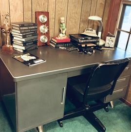 Vintage metal office desk and rolling chair