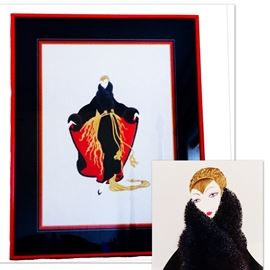 "Erte ""Faubourg St. Honore""  Part of the""Paris Days and Nights"" suite  Measurements: 38.5""x30"" as framed"