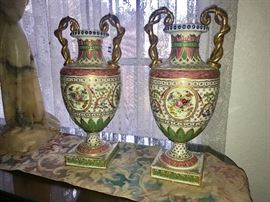 PAIR SEVRES TALL VASES WITH TWISTED GOLD HANDLES