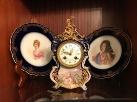 PAIR SEVRES PLATED WITH COBALT BORDER