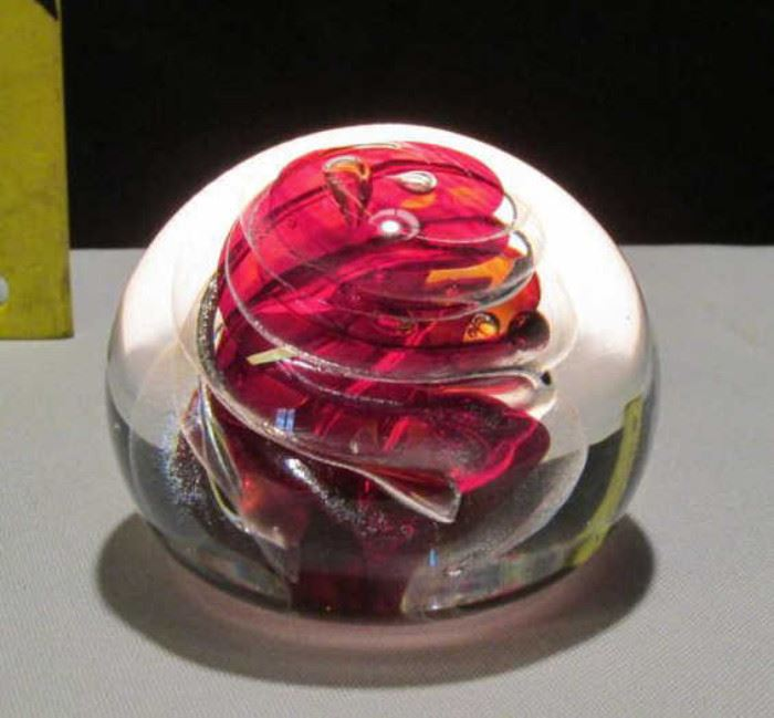1996 Brian Lonsway Signed Glass Paperweight Lot # 316