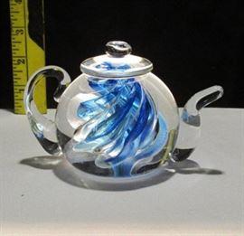 1996 Brian Lonsway Signed Glass Tea Pot Lot # 323