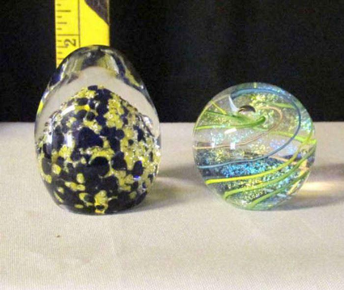 (2) Glass Art Paperweights Lot # 325