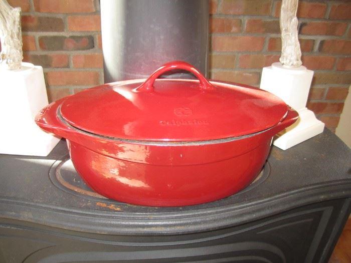 Red Calphalon casserole pot