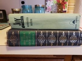 Vintage cook books, blue Ball jars