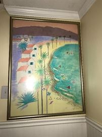 Beachy watercolor signed Daniel Randolph.
