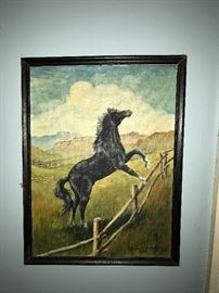 "Horse painting on canvas, signed ""Frances Hickman, 1959""."
