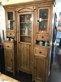 Antique English country pine cupboard, mortis and tenon construction--18th century or late 17th century.