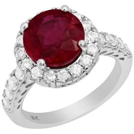 GIA 2CT Unheated Ruby Diamond Ring