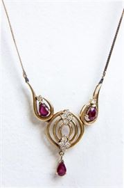 Lot 75 - Jewelry 14kt Yellow Gold Ruby & Diamond Necklace