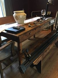 Farm style table with Benches or chairs you pick!