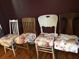 Vintage and farmhouse style chairs with or without pads