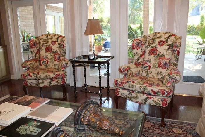 Woodmark Floral Wing Back Chairs, Tea Cart Glass Top Iron Accent Table