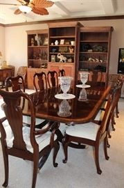 Chippendale Style Dining Room Table With Ten Chairs