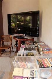 """60"""" Element TV, Unique TV Stand, DVDs, VHSs, CDs"""