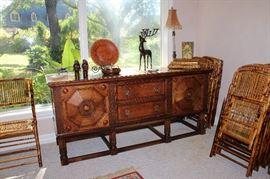 Mediterranean Style Buffet, Tortoise Rattan Bamboo Folding Chairs