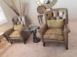Whittemore-Sherrill arm chairs; leather & fabric