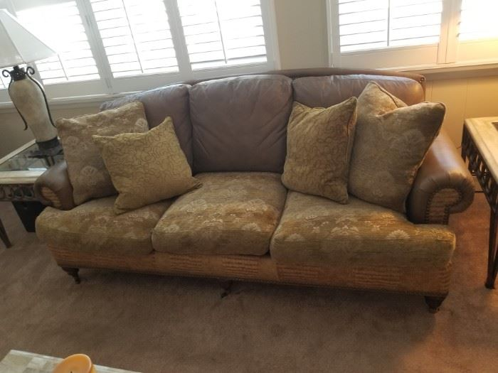 Whittemore-Sherrill sofa; leather & fabric