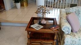 """One of two Wood End Tables with Smoked Glass Tops, 25"""" by 25"""", 19 """"tall"""