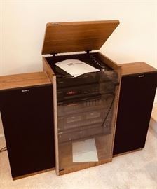 "Sony Stereo Component System includes: TurnTable PS-LX295, a 5 Band Equalizer, Dolby Tape Deck with Deck A & B, 5 Disc CD Player, 2 Sony 32"" Tall Speakers SS-U230"