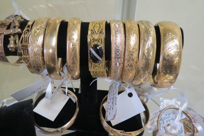Vintage and Antique gold filled bangle bracelets.