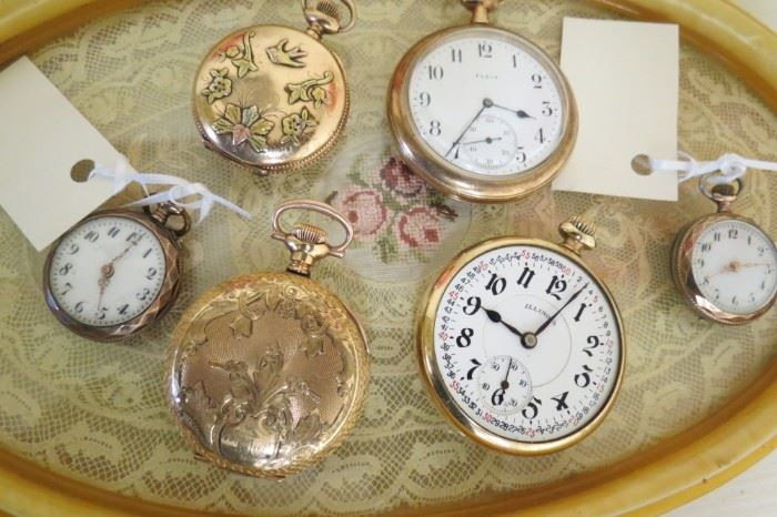 Antique gold filled pocket watches.