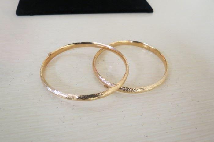 14k gold etched bangle bracelets.