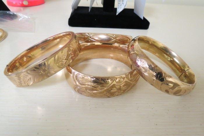 Antique Victorian gold filled bangle bracelets.
