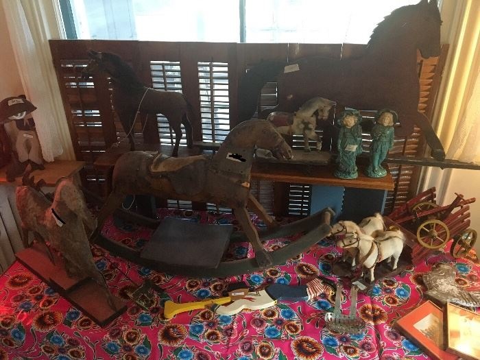 Antique and vintage horse- weather vane, toys, rocking horse