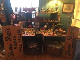 various figurines, boat, Burma Shave signs, wood tricycle