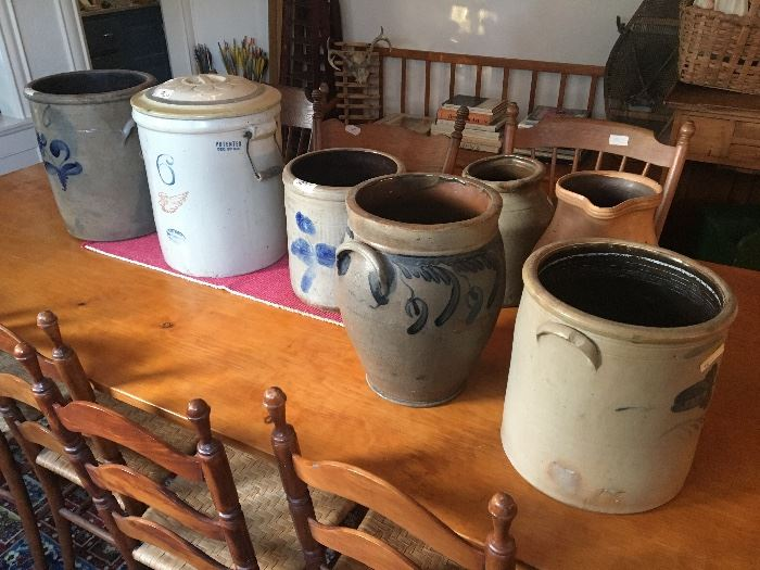 Onion shaped crock, red clay pitcher, sets of chairs