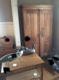 Cupboard with pigeon holes in top half and open shelves in bottom- quarter sawn oak desk, four PEI geese