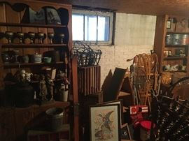 basement- fishing tackle, creels, minnow buckets, unused newer snow shoes, misc pottery