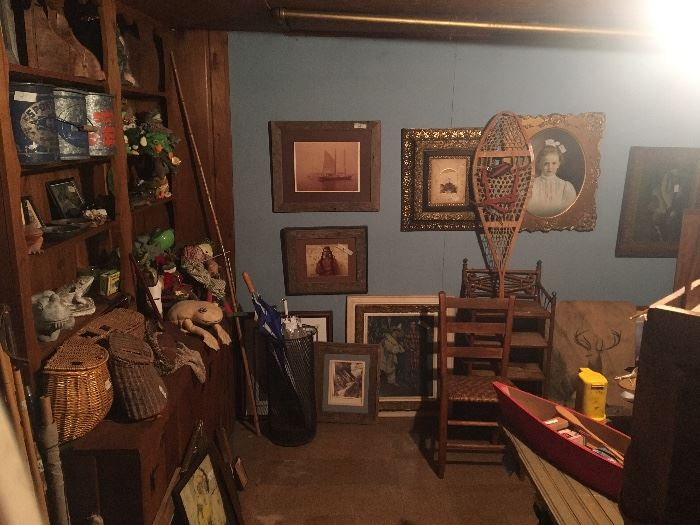 basement- umbrella stand, pictures, antique chair,