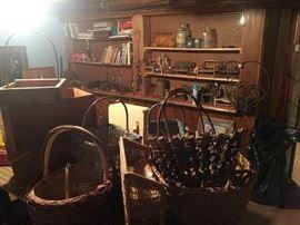 basement- baskets, mini chairs, books