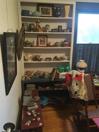 upstairs front room- patriotic pictures, teapots, rocking chair